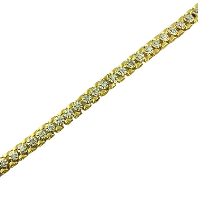 "DIAMOND BRACELET- 14 Karat Gold 15.5 GRMAS  0.50CT TDW  LENGTH 7"""