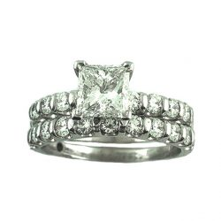 EGI  CERTIFIED DIAMOND BRIDAL SET 14K WHITE GOLD|2CT TDW|SIZE 7""
