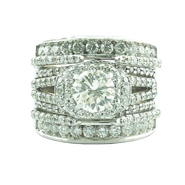 "DIAMOND BRIDAL SET-14K WHITE GOLD| 1CT(C)| 4CT TDW| SIZE 8"""