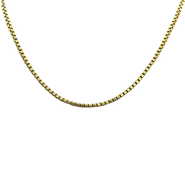 """14K YELLOW GOLD BOX NECKLACE