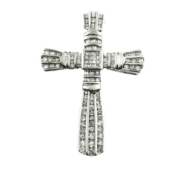 DIAMOND CROSS PENDANT- 10K WHITE GOLD| 22.1G| 4.00CT TDW
