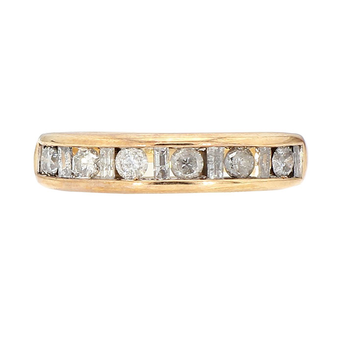 DIAMOND WEDDING BAND- 10K YELLOW GOLD| 6.10G| 0.60CT TDW| SIZE 7.75""