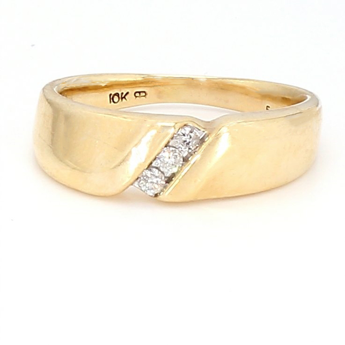 MENS WEDDING BAND-10K YELLOW GOLD| 4.10G|  0.10CT TDW| SIZE 9.50""