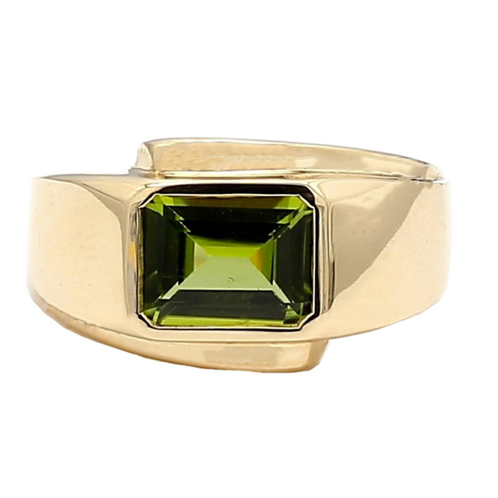 PERIDOT MENS RING- 10K YELLOW GOLD| 15.0G| SIZE 11""