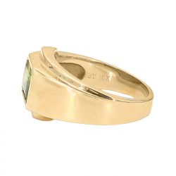 "PERIDOT MENS RING- 10K YELLOW GOLD| 15.0G| SIZE 11"""