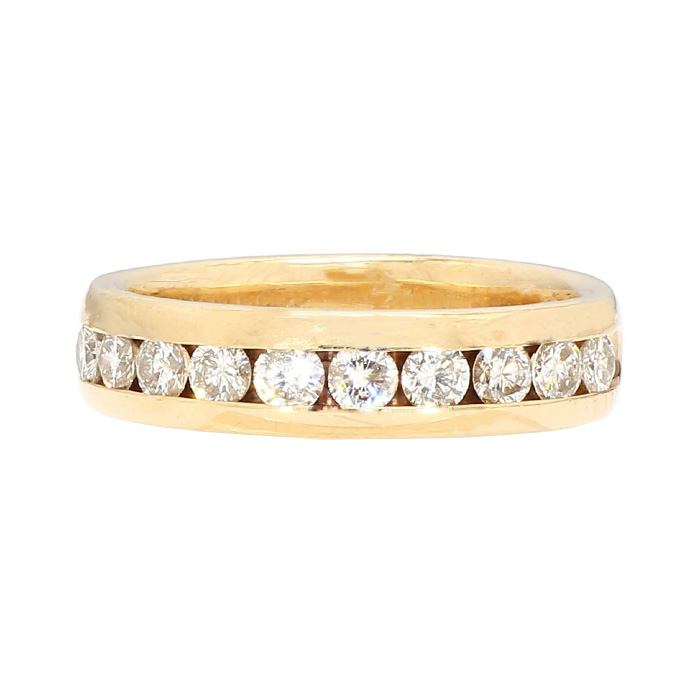 "DIAMOND WEDDING BAND- 14K YELLOW GOLD  8.0G  1.00CT TDW  SIZE 9.50"""
