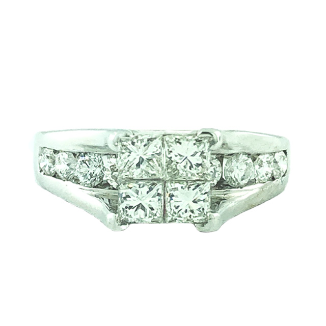 14K WHITE  GOLD ENGAGEMENT RING|2.00CT TDW| 5.1G| 6.50""