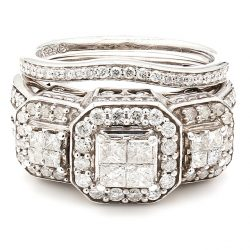 14K WHITE GOLD BRIDAL SET| 7.0G| 1.50CT TDW| SIZE 5.75""