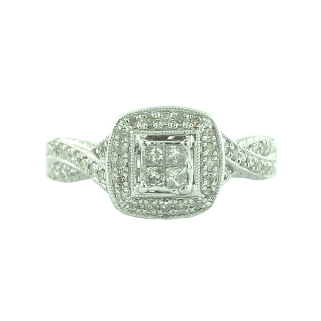 "DIAMOND ENGAGEMENT RING-14K WHITE GOLD 4.20G  0.50CT TDW  SIZE 8"""