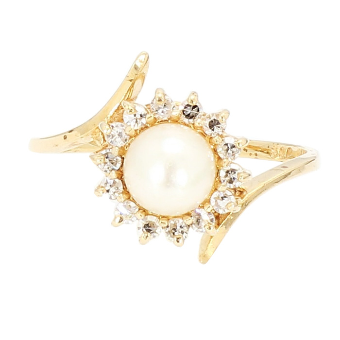 PEARL & DIAMOND- 14K YELLOW GOLD| 2.60G| 0.15CT TDW| SIZE 7.25""