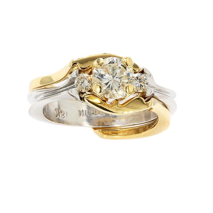 "BRIDAL SET| PLATINUM|18 Karat Gold| 12.5G |1.00CT CENTER| SIZE 5"""