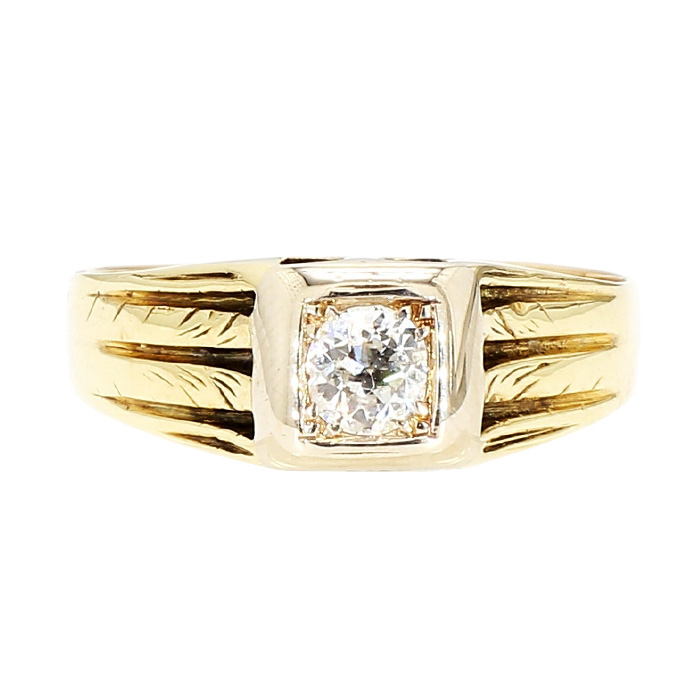 """SOLITAIRE DIAMOND RING- 10K YELLOW GOLD