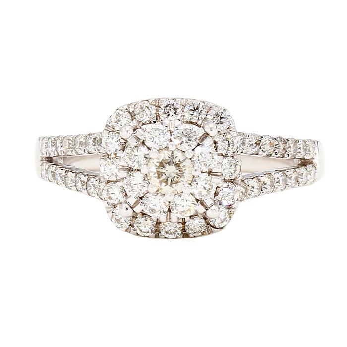 "DIAMOND ENGAGEMENT RING- 14K WHITE GOLD| 3.9G| 1.00CT TDW| SIZE 5.50"""