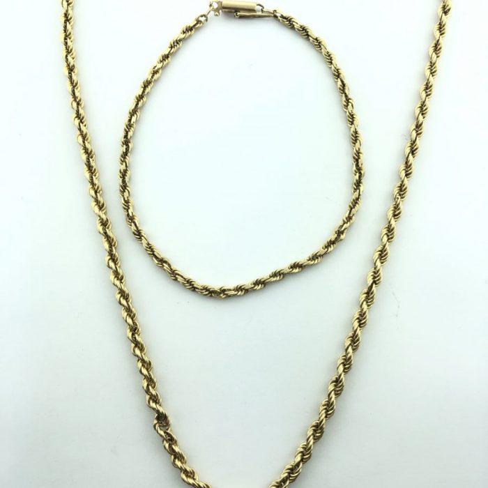 14 KARAT GOLD/12G ROPE NECKLACE & BRACELET