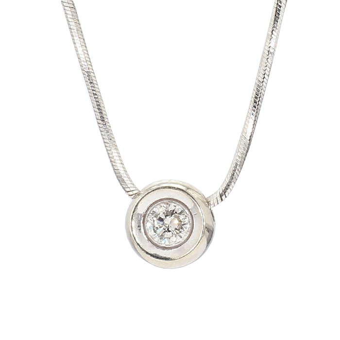 """SOLITAIRE NECKLACE- 14K WHITE GOLD 