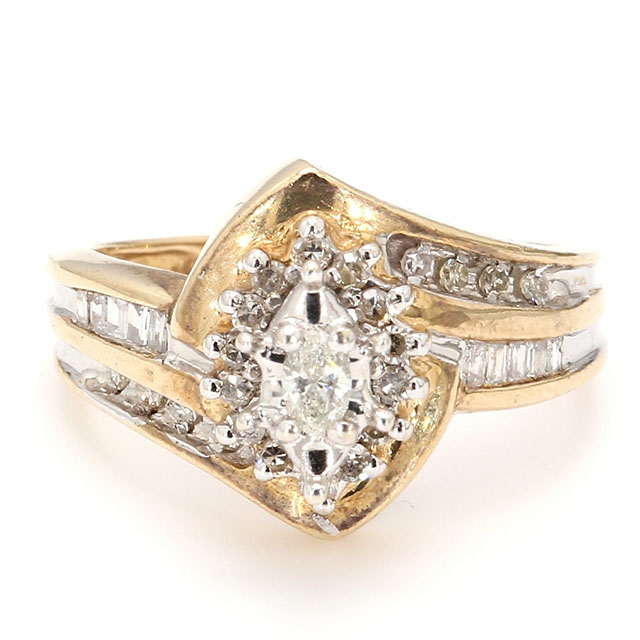 10K YELLOW GOLD| 3.30G| 0.50CT TDW| SIZE 4.50""