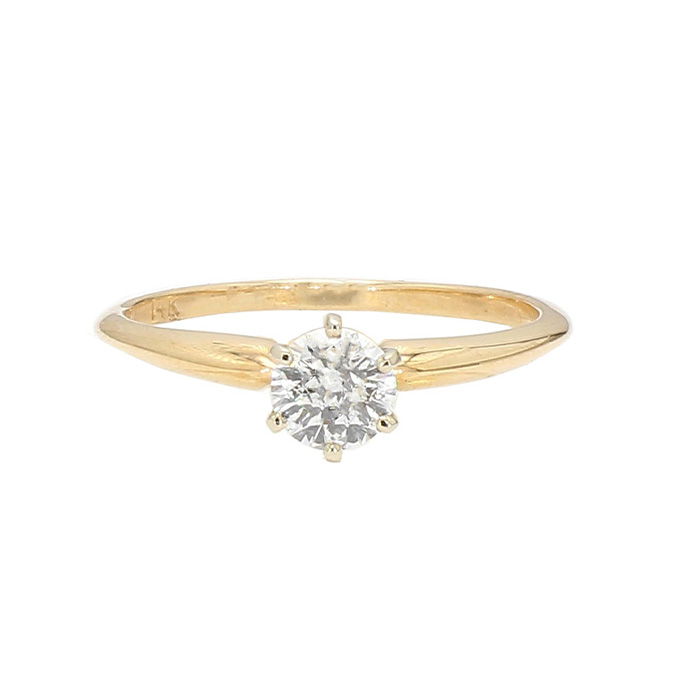 """SOLITAIRE DIAMOND ENGAGEMENT RING- 14K YELLOW GOLD  0.30CT ROUND CUT  SIZE 6.50"""""""