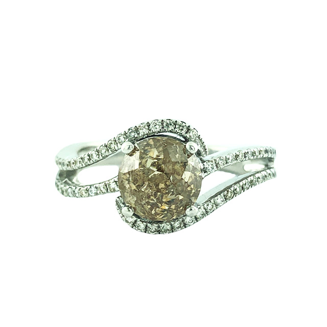 DIAMOND BRIDAL SET- 14K WHITE GOLD| 2.70 CT CENTER BROWN DIAMOND| 3.00CT TDW| 6.1G| SIZE 9.50""