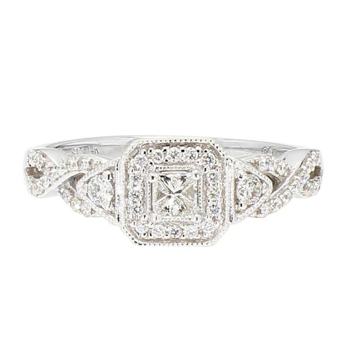 "DIAMOND ENGAGEMENT RING-14K WHITE GOLD| 3.3G| 1.00CT TDW| SIZE 6.75"""