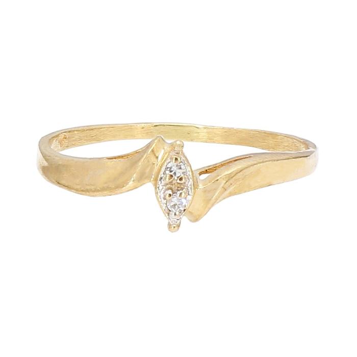 "DIAMOND ENGAGEMENT RING- 10K YELLOW GOLD|  0.05CT| SIZE 8.25"""