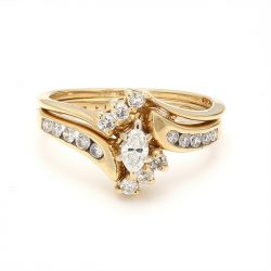 14K YELLOW GOLD BRIDAL SET| 4.3G| SIZE 6""