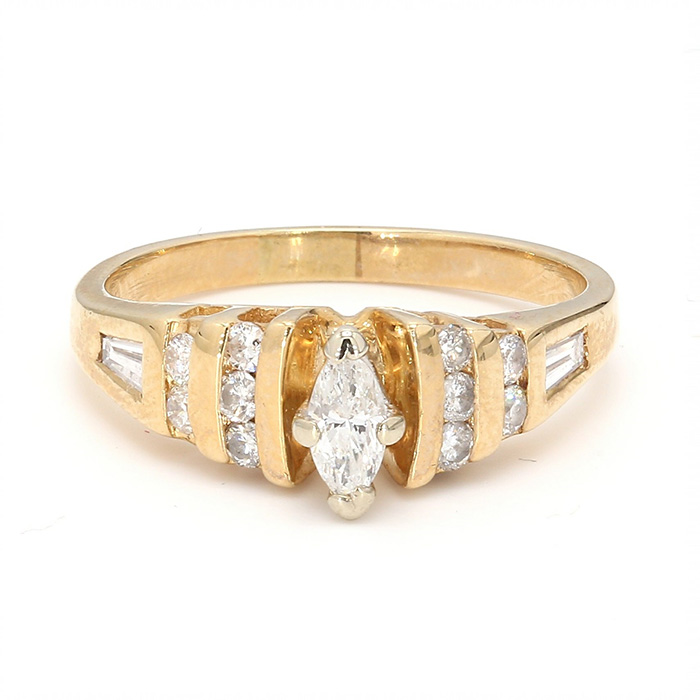 14K YELLOW GOLD ENGAGEMENT RING| 4.3G| SIZE 7.25""