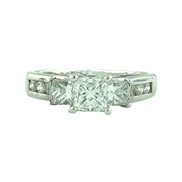 GIA CERTIFIED DIAMOND ENGAGEMENT RING 14K WHITE GOLD| 0.64CT(C)| 1.00CT TDW| SIZE 6.50""