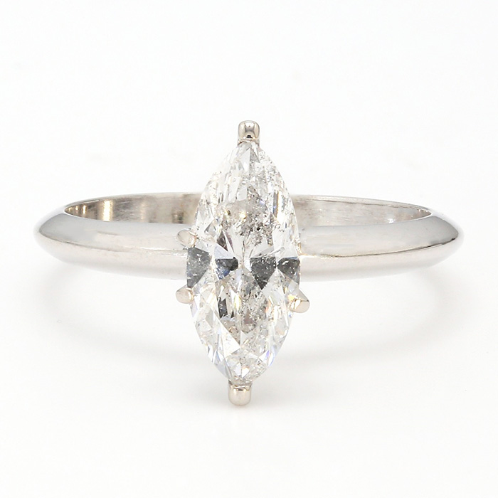 SOLITAIRE DIAMON ENGAGEMENT RING- 14K WHITE GOLD| 2.3G| 1.03CT TDW| SIZE 5.50""
