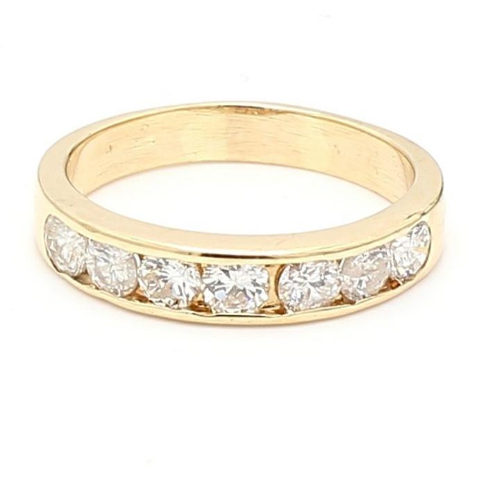 "DIAMOND WEDDING BAND- 14K YELLOW GOLD  0.75CT TDW  3.5G  SIZE 6.50"""
