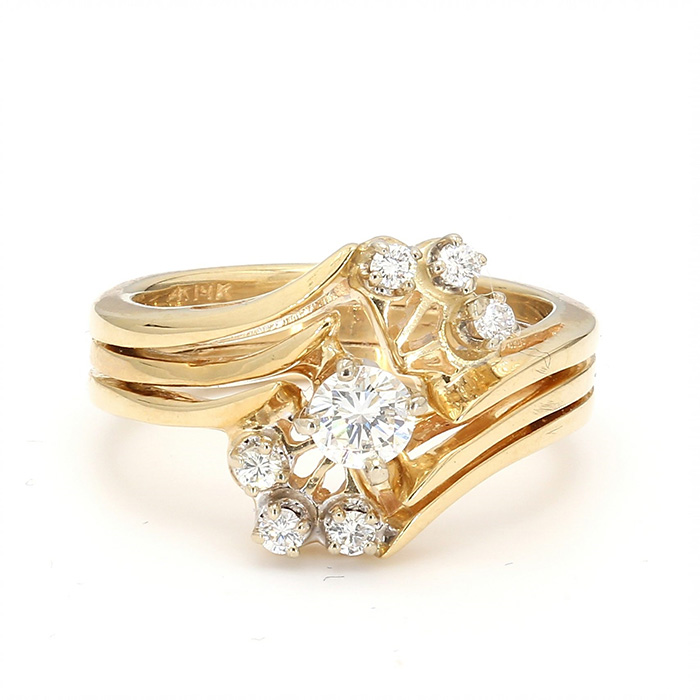 14K YELLOW GOLD BRIDAL SET| 5.3G| SIZE 4.25""