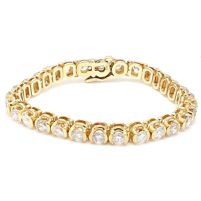 "DIAMOND BRACELET- 14K YELLOW GOLD| 10.0CT TDW| 27.6G|  LENGTH 7"""