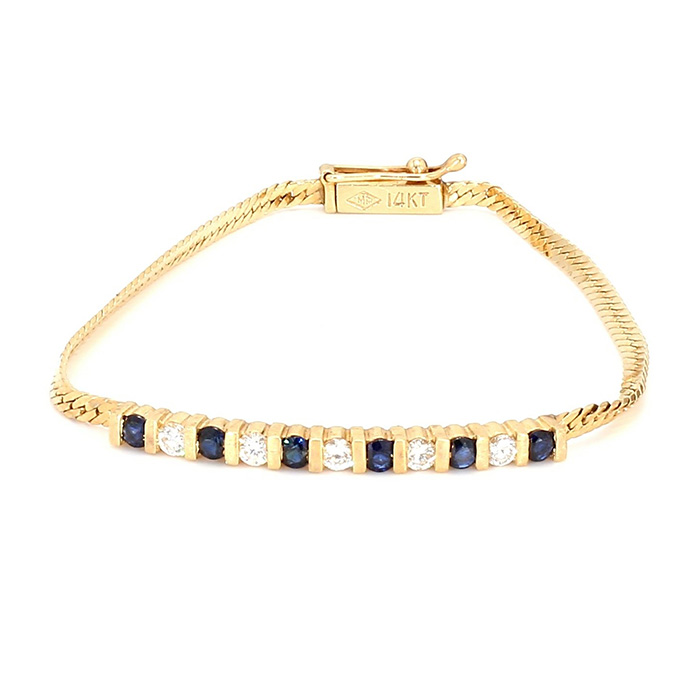 DIAMOND & BLUE SAPPHIRE BRACELET- 14K YELLOW GOLD| 4.6G| LENGTH 6.50""