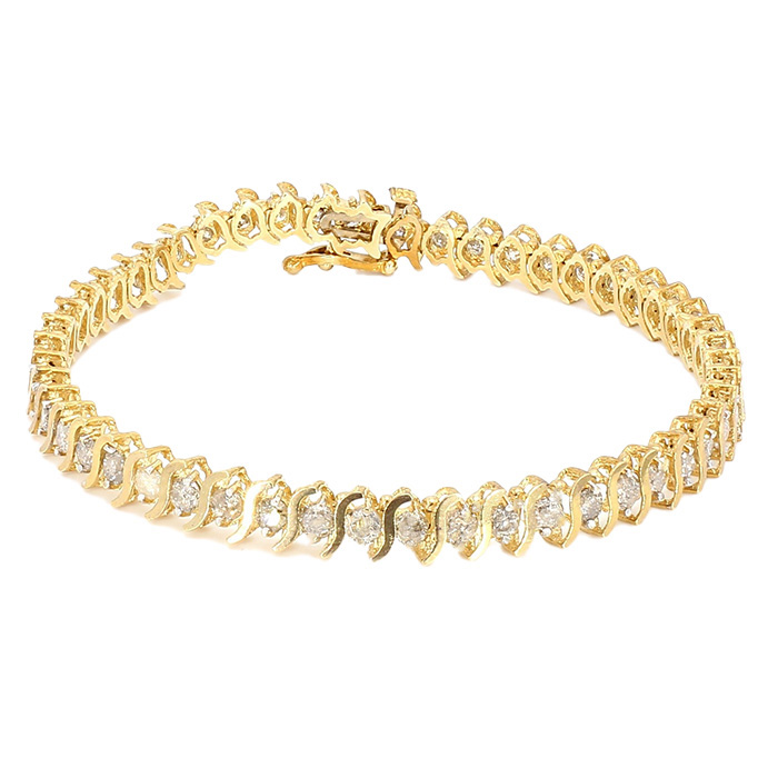 "DIAMOND BRACELET-14K YELLOW GOLD| 2.00CT TDW11.50G| LENGTH 7.25"""