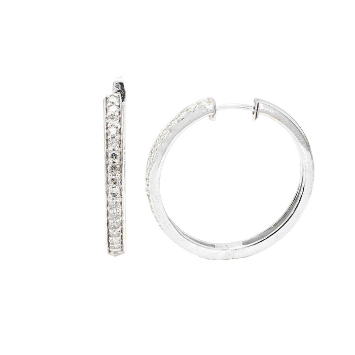 DIAMOND HOOP EARRINGS- 14K WHITE GOLD| 7.8G| 1.00CT TDW