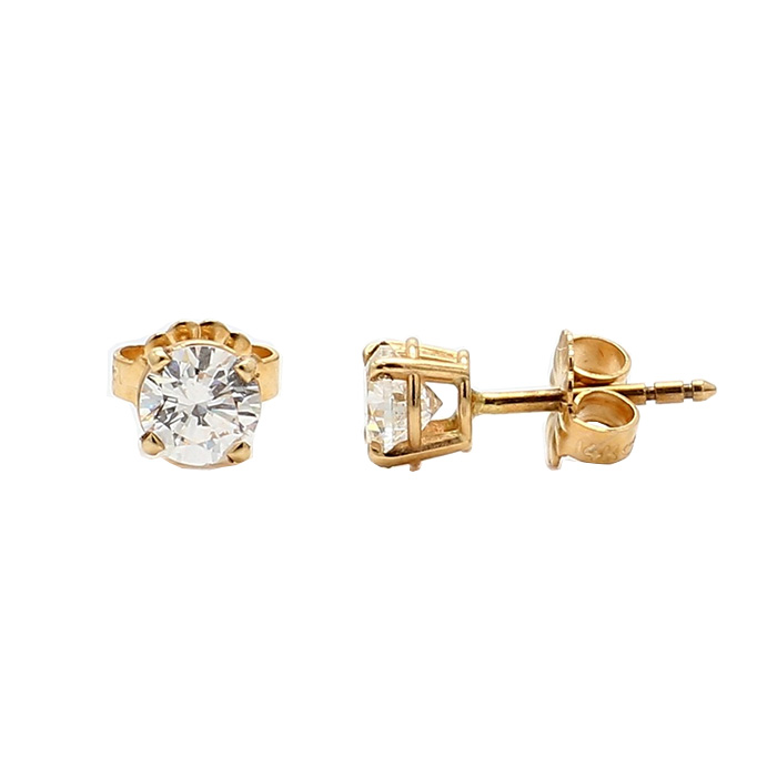 DIAMOND STUD EARRINGS- 14K YELLOW GOLD| 1.0G| 0.75CT TDW