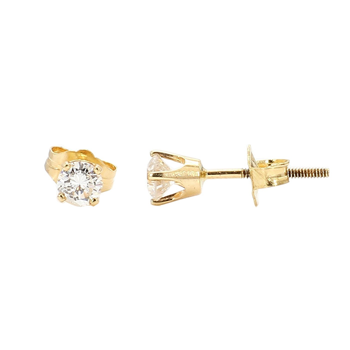 DIAMOND STUD EARRINGS- 14K YELLOW GOLD| 0.50CT TDW| COLOR- G, CLARITY- SI
