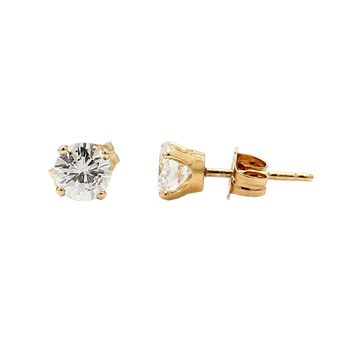 DIAMOND STUD EARRINGS- 14K YELLOW GOLD| 1.0G| 1.00CT TDW