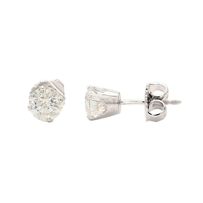 DIAMOND STUD EARRINGS- 14K WHITE GOLD  1.0G  1.00CT TDW