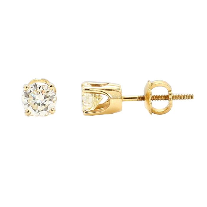 DIAMOND STUD EARRINGS- 14K YELLOW GOLD| 1.0G| 0.75CT TDW