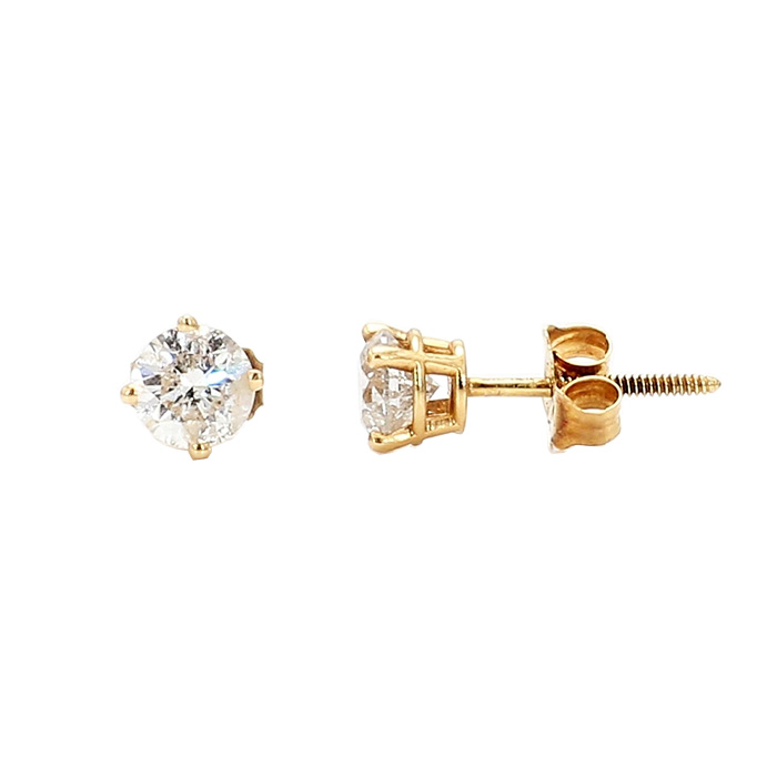 DIAMOND STD EARRINGS- 14K YELLOW GOLD| 1.0G| 0.75CT TDW