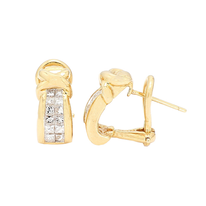 DIAMOND HOOPS- 14K YELLOW GOLD| 7.2G| 1.00CT TDW| COLOR-G, CLARITY-SI
