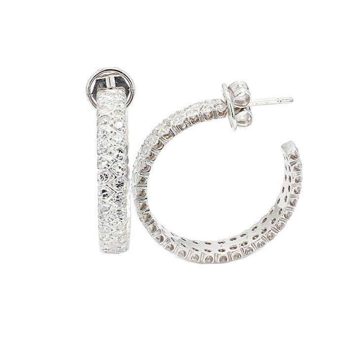 DIAMOND EARRING HOOPS- 14K WHITE GOLD  11.9G  2.50CT TDW (120 DIA PCS)