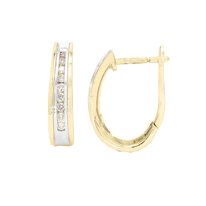 DIAMOND EARRING HOOPS- 14K YELLOW GOLD| 3.6G