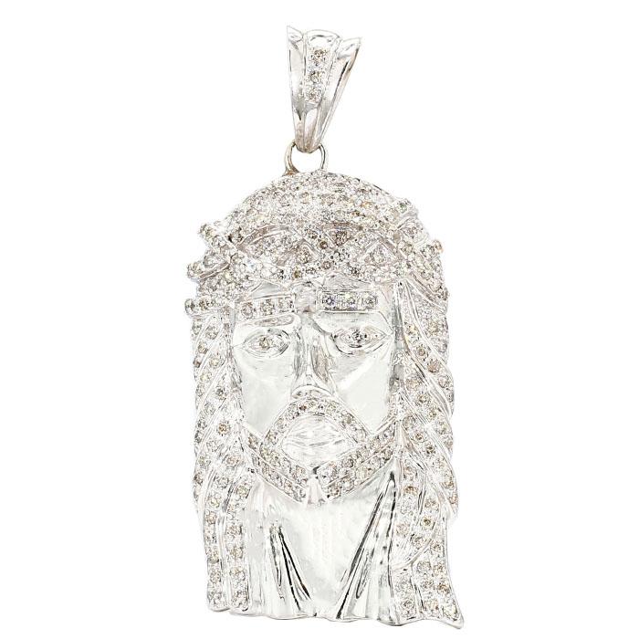 JESUS HEAD PENDANT- 14K WHITE GOLD| 71.5G|10+ CARAT TDW