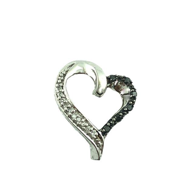 10K HEART CHARM WITH WHITE & BLACK DIAMONDS| 1.2G