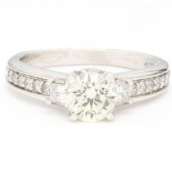 """SOLITAIRE DIAMOND ENGAGEMENT RING- 14K WHITE GOLD