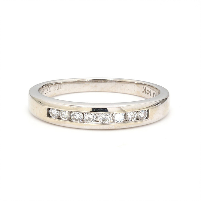 14K WHITE GOLD BAND| 3.0G| 0.25CT| SIZE 6.50""