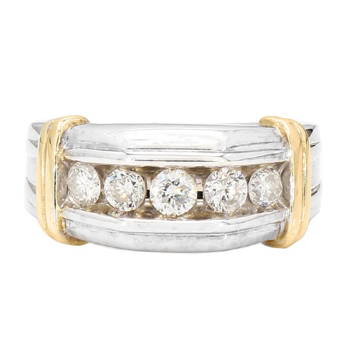 "MENS DIAMOND WEDDING BAND-14 Karat Gold| 10.7G| 1.00CT TDW| SIZE10"""