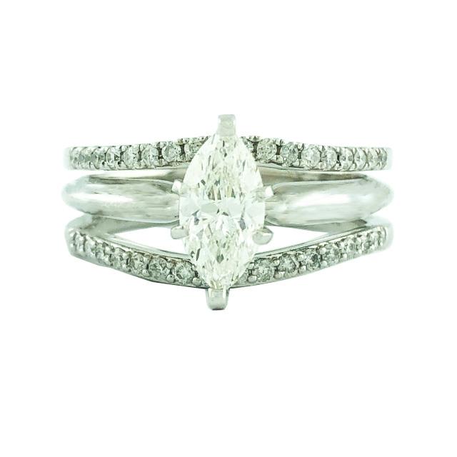 "DIAMOND BRIDAL SET- 14K WHITE GOLD| 0.82CT(C)| 1.25CT TDW| SIZE 6.75"""