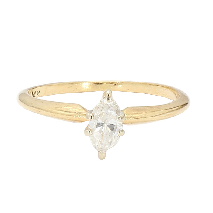 """SOLITAIRE DIAMOND ENGAGEMENT RING- 14K GOLD